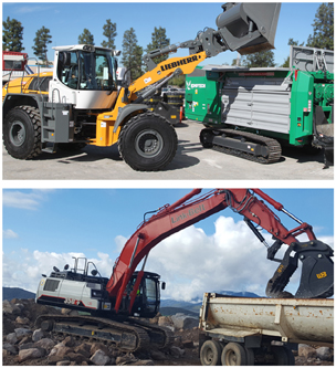 Excavators, wheel loaders, Scrap and recycling, demolition, and green waste equipment for rent